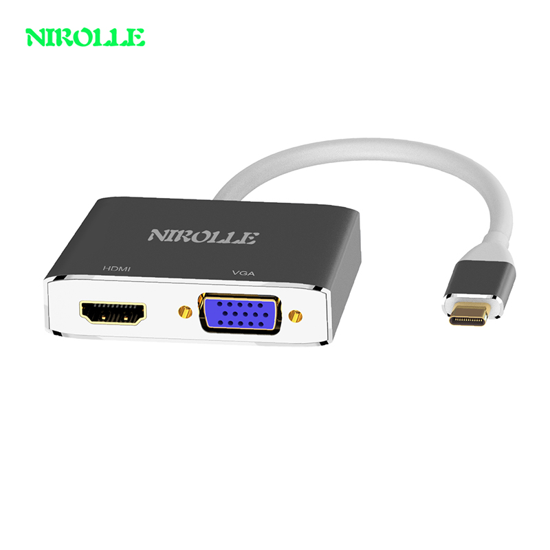 Nirolle USB C HDMI VGA Adapter USB Type-c to HDMI 4K Male to Female for MacBook Pro ChromeBook galaxy S9 Huawei P20 USB C HDMI