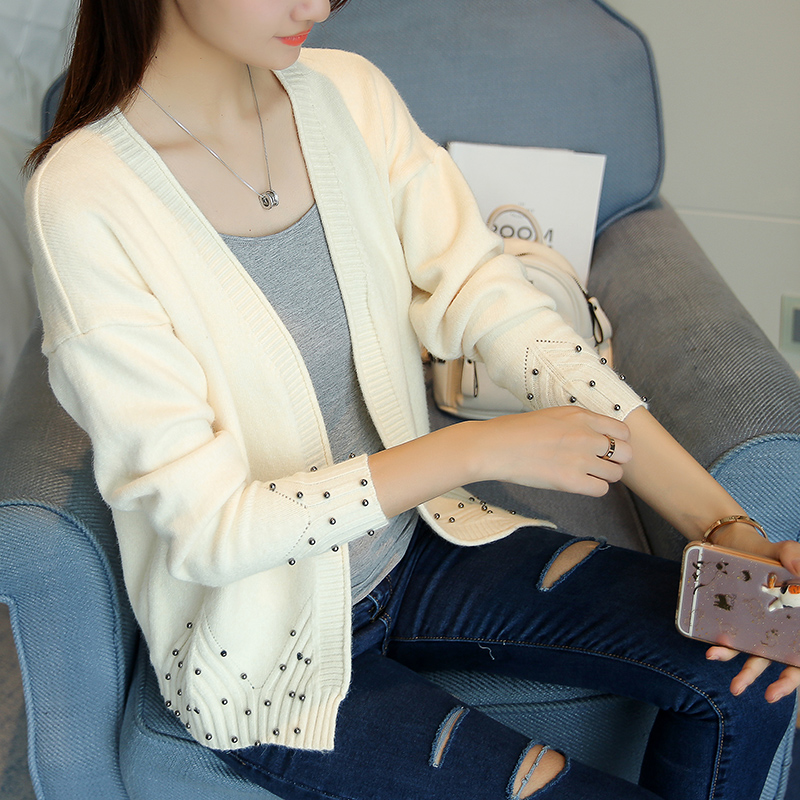 Fashion Beading Loose Knitted Cardigan Female Autumn Winter Tricot Sweater Cardigan Women Long Sleeve Jacket