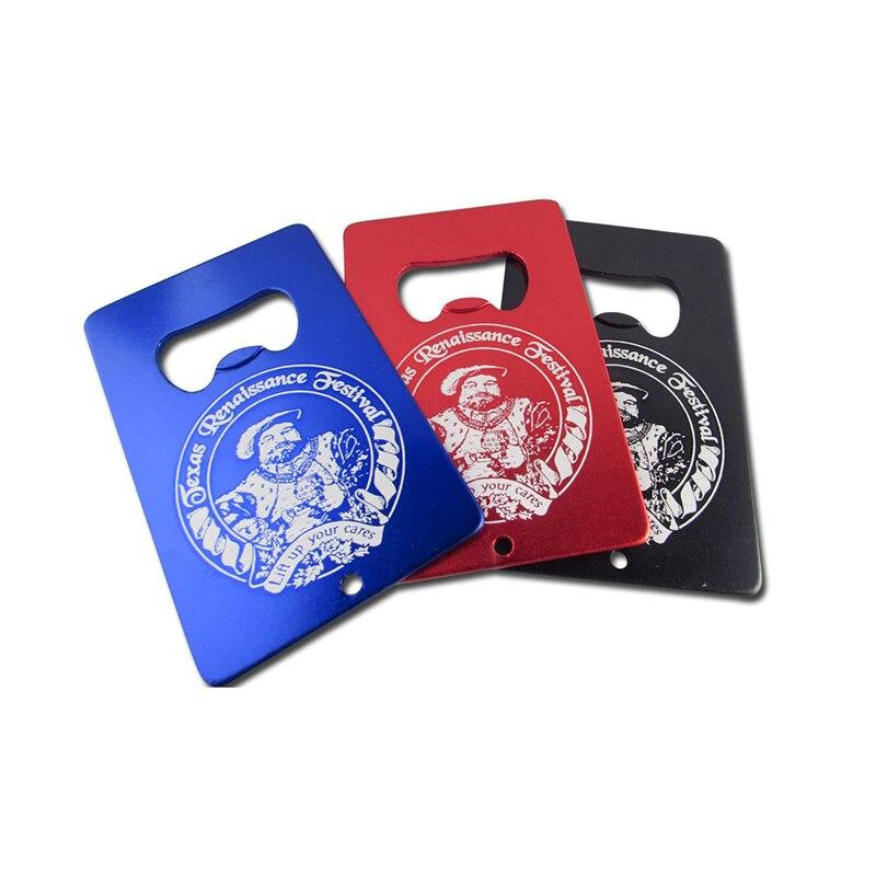 50x Logo Personalizzato Inciso Carta di Credito Apribottiglie A Forma di Apri Bottiglia di Birra In Alluminio Personalizzato Biglietto Da Visita Blu Nero Rosso-in Apribottiglie da Casa e giardino su  Gruppo 1