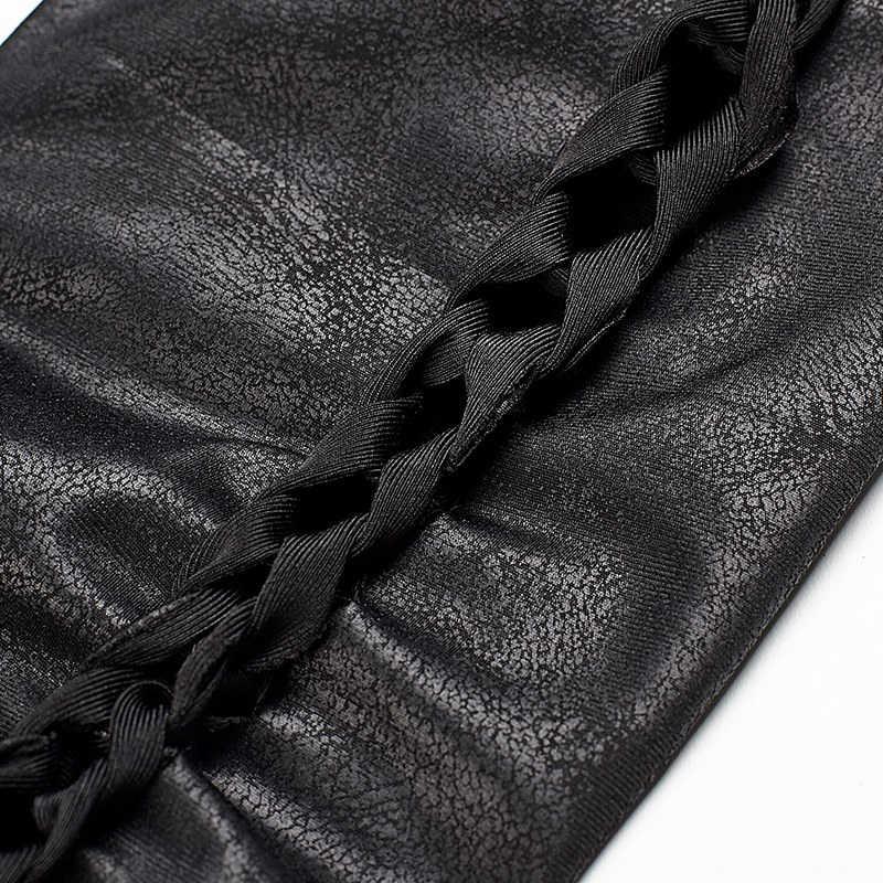 Rock Preto Fino Cintura Alta Oca-Out Sexy Casual Calças Góticas Mulheres Torção de Crack PU Calças Leggings de Couro DO PUNK RAVE PK-096