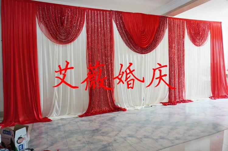 caliente de la manera rojo y blanco contextos de la boda con el swag cortinas cortina