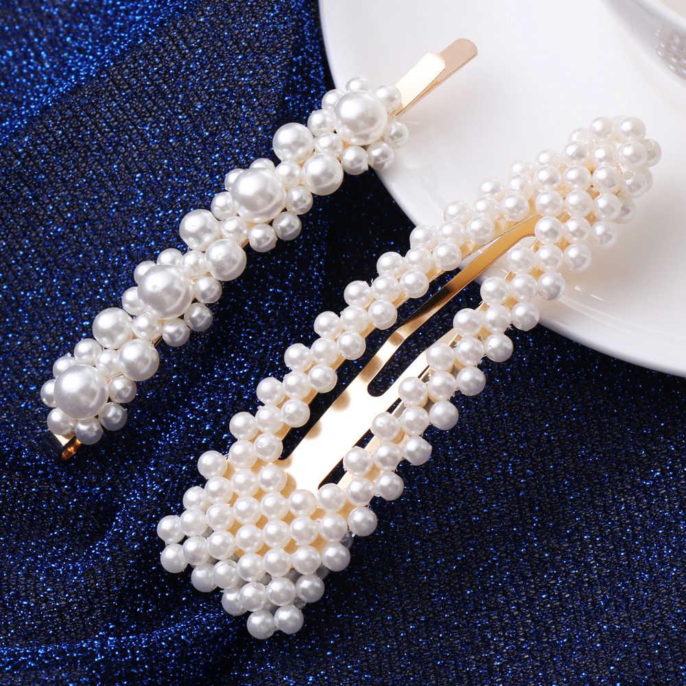 2pcs/set Fashion 12 Styles Women Korean Pearl Flower Imitation Beads Hair Clip Barrette Stick Hairpin Hair Styling Accessories