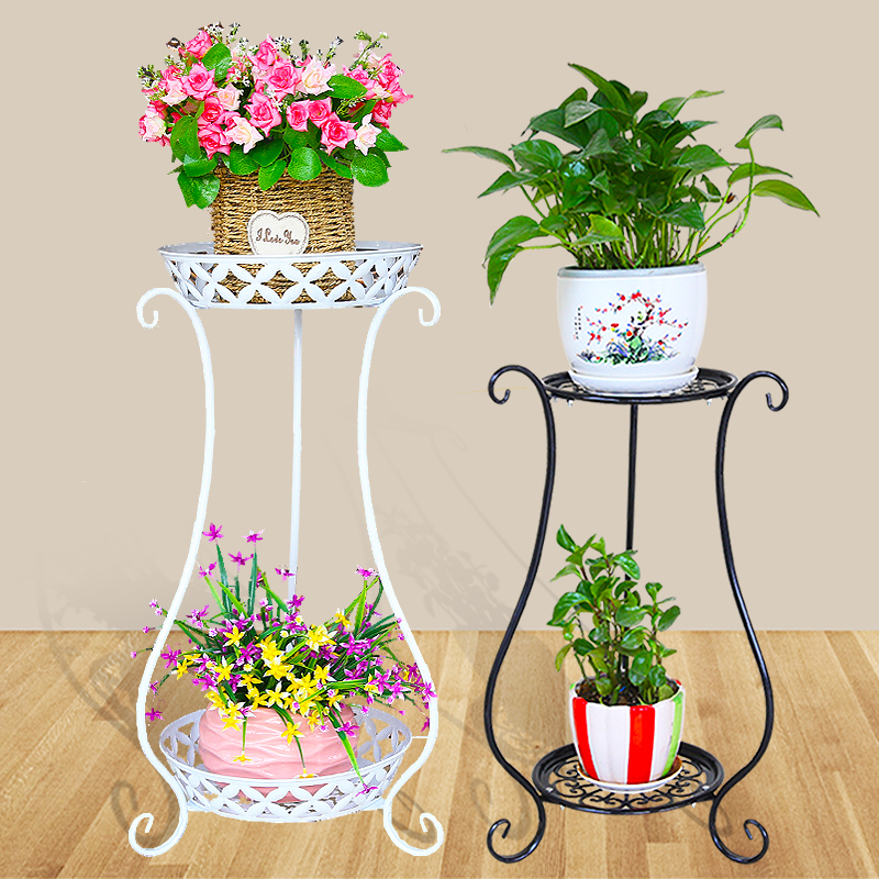 Iron Art Multi-Layer Balcony Plant Pot Stand Simple Indoor Outdoor Gardenpot Base Holder Shlef Garden Decor 2 Colors