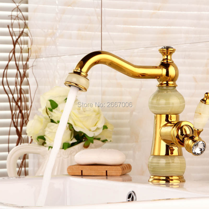 цена на Free Shipping Bathroom Luxury Copper Hot And Cold Taps Golden Faucet Marble Boby Mixer Faucet Wash Basin Gold Kitchen Tap ZR819