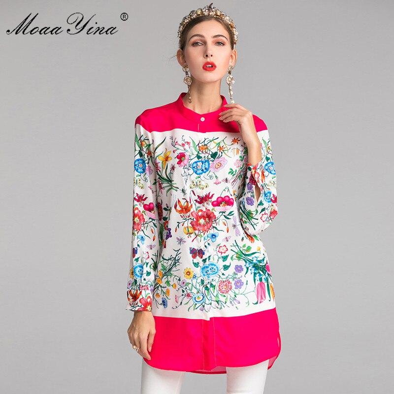 MoaaYina Fashion Designer Runway Plus size 3XL Long Shirt Spring Summer Women Red Stand collar Long