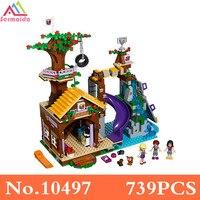 SERMOIDO Bela 10497 739Pcs Friends Adventure Camp Tree House Tire Swing Model Building Minis Blocks Girl