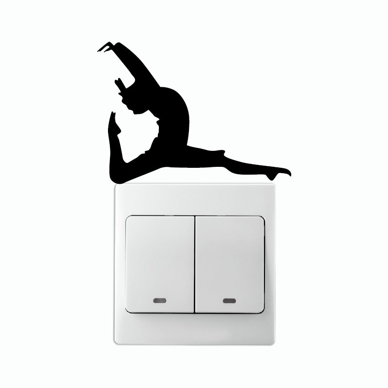 KG-194 Fitness Girl Dancer With One Leg Pointed On Light Switch Stikcer Silhouette Vinyl Home Wallpaper