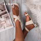 LALA IKAI Women PU Leather Sandals Solid Color Buckle Strap Low Heels Ladies Casual Summer shoes Chaussures Femme 900A3250-5