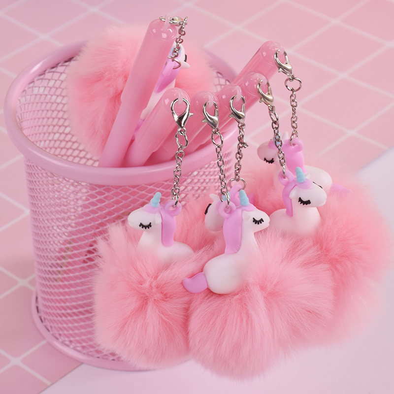 Sweet Cartoon Pink Unicorn Pompon Gel Pen Writting Pens Canetas Material Escolar Kawaii Staitonery Paperlaria School Supplies