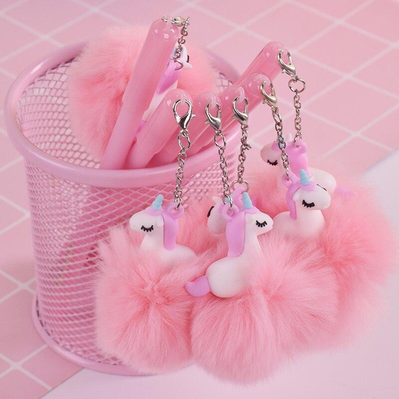 Sweet Cartoon Pink Unicorn Pompon Gel Pen Writting Pens Canetas Material Escolar Kawaii Staitonery Paperlaria School Supplies