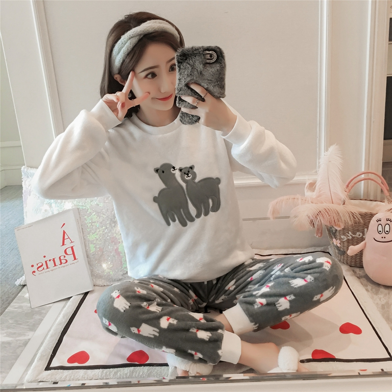 Thick Warm Flannel   Pajama     Sets   for Women 2018 Winter Long Sleeve Coral Velvet Pyjama Girls Cute Cartoon Alpaca Homewear Clothing