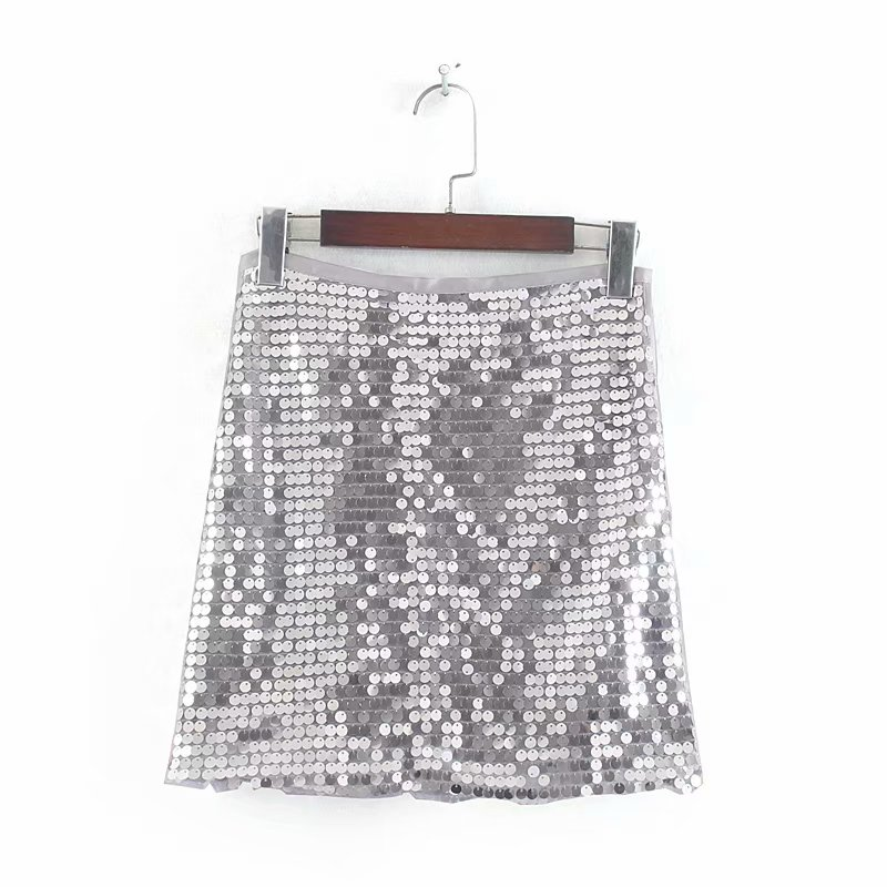 New Women Fashion Grey Sequined Embroidery Pencil Skirt Faldas Mujer Ladies Side Zipper Casual Slim Autumn Mini Skirts QUN383