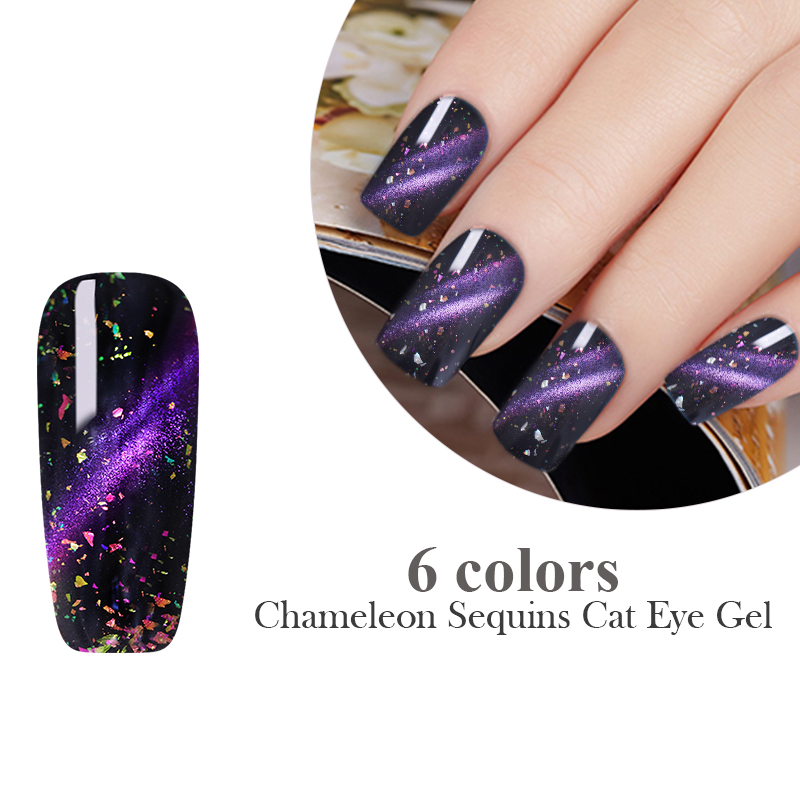 LEMOOC 8ml Chameleon Magnetic 3D Cat Eye Nail Gel Polish Shinny Glitter Sequins Soak Off UV Nail Art Gel Varnish in Nail Gel from Beauty Health