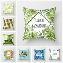 Fuwatacchi Plant Painted Cushion Cover Sunflower Coconut Tree Fruits leaf Pillow for Home Chair Car Decoration Pillows