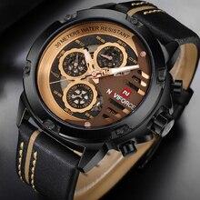NAVIFORCE montre à Quartz décontractée bracelet en cuir pour hommes, marque de luxe, de Sport, étanche