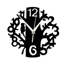 Acrylic Bird Tree Wall Clock Stylish Home Decor Sticker Non Ticking Silent Clock For Office Living Room Dining Room(China)