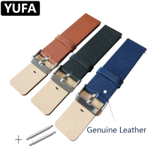 YUFA Calf Genuine Leather Watch Band For Men Women Stainless Steel Pin Buckle Clasp Watch Strap 22mm Wristband Watch Accessories