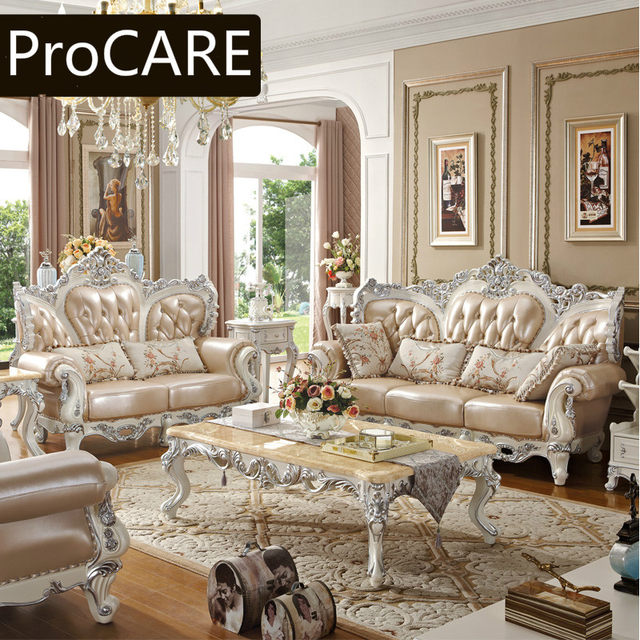 Carved Wood Sofa Leather Sofas French Garden New Clic Living Room