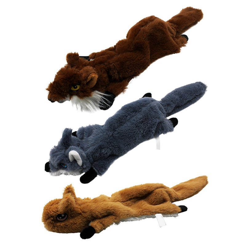 Cute Plush Toys Squeak For Dogs Chew Squeaker Pet Squeaky Animal Shaped Toy Squirrel  Dog Cat Toy Pet Supplies 16