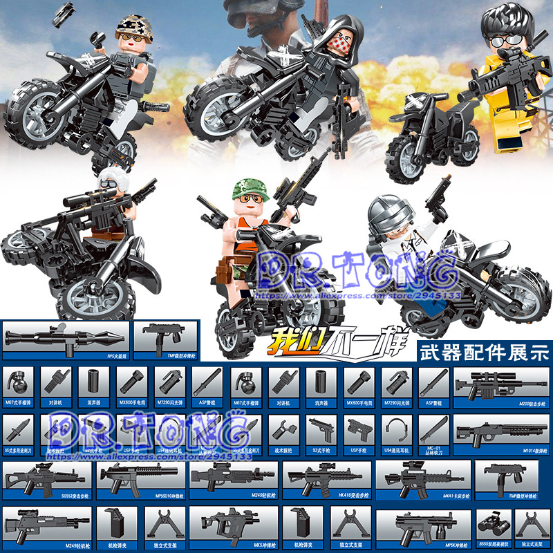 6PCS/LOT ZM716 PUBG FPS Game MILITARY Winner Winner Chicken Dinner Soldier Army Motorcy Building Blocks Figure Educational Toys