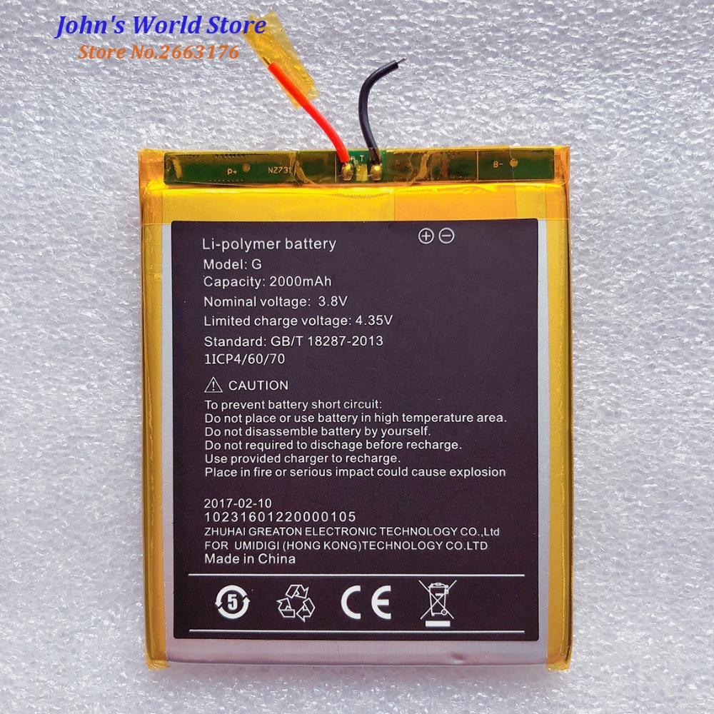 Umi Bateria G UMIDIGI G Alta Qualidade Original 2000MAh Back Up Para UMIG Baterij Batterie bateria Do Telefone Inteligente Em estoque