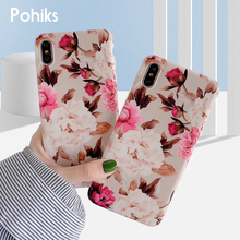 Pohiks Phone Case For iPhone XS Max XR 8 7 6s Plus Rose Flower Peony Soft TPU Case Back Cover For iphone 6 6s 7 8 plus Fundas стоимость