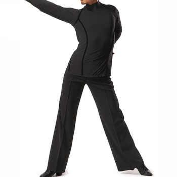 Men\'S High Neck Professional Latin Dance Tops Ballroom Dance Practice Clothes Long Sleeves Velvet Adult Flamenco Shirt ZH3089