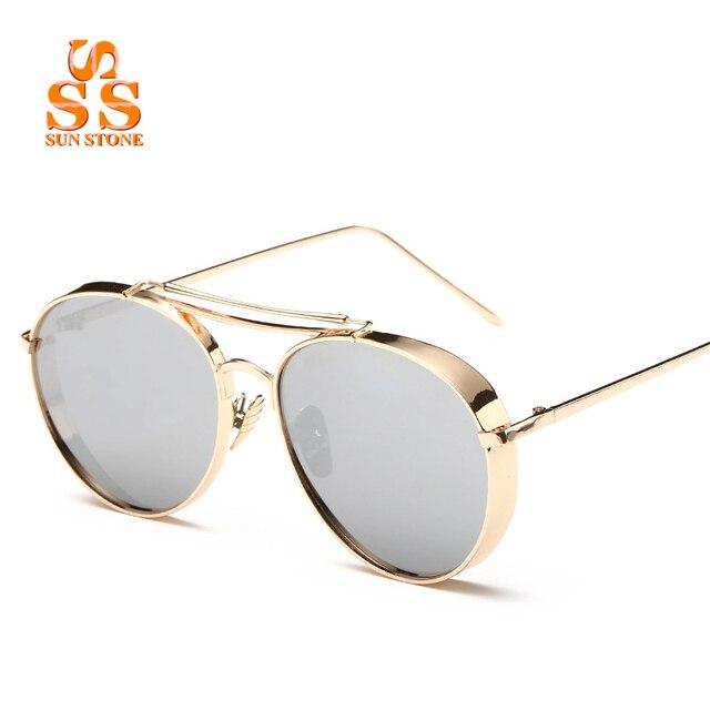 SUNSTONE Unisex Fashion Full Metal Thick Frame AC Coating Sunglasses & Box Brand 2016 Star Style UV400 Eyeglasses Women Men SC36