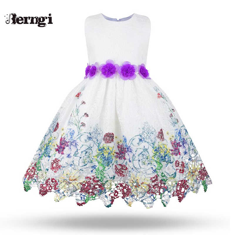 ea35c126 Berngi Children Embroidery Lace Baby Girl Flower Dress for Wedding Party  Kids Dresses Girls Toddler Ball