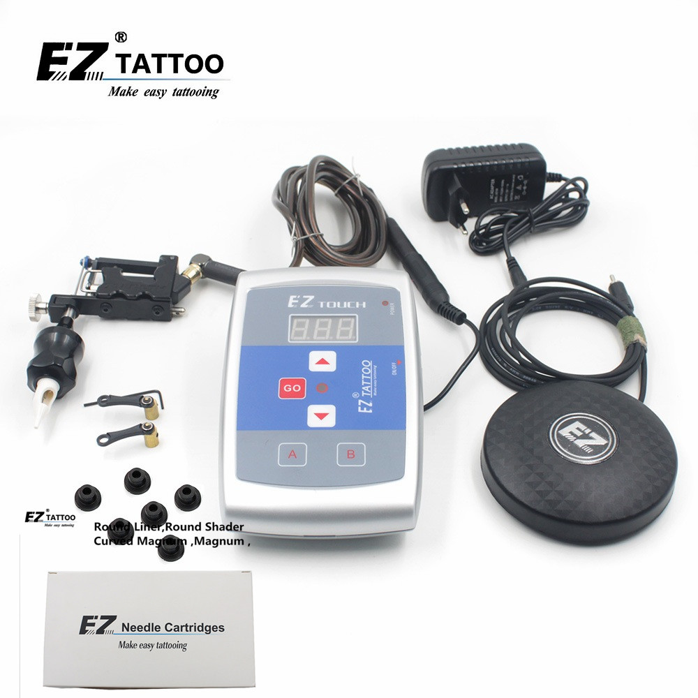 EZ Stealth 2.0 Rotary Tattoo Machine and 80 PCS EZ Cartridge Tattoo Needles EZ Power Supply EZ Pedal Tattoo kits for Tattooist soundtube hp82 ez