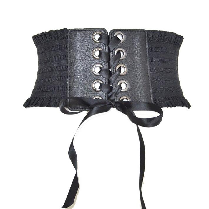 Women's Runway Fashion Black Elastic Bandage Cummerbunds Female Dress Corsets Waistband Belts Decoration Wide Belt R1431