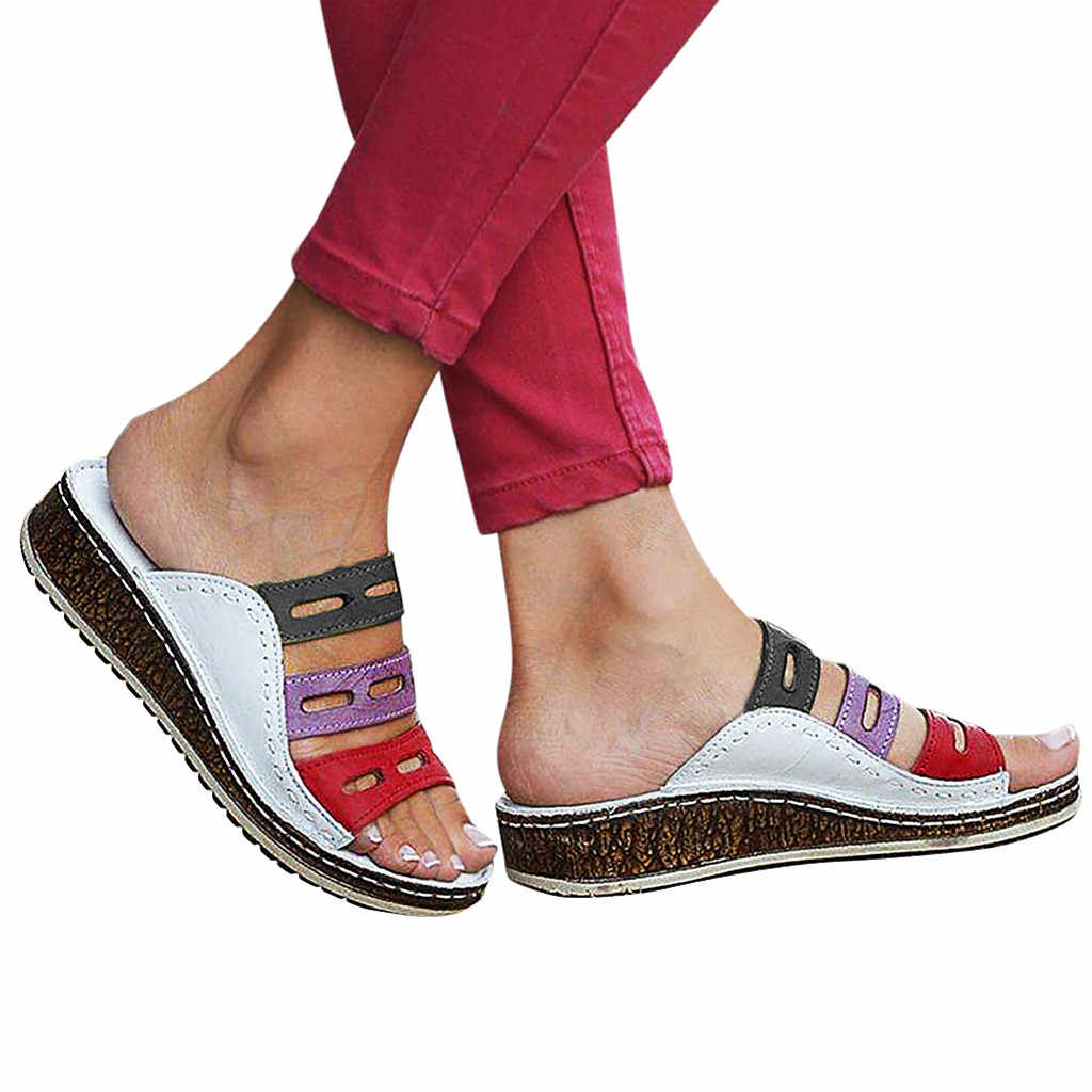 Summer Women Slippers Rome Retro Three-color Casual Shoes Thick Bottom Wedge Open Toe Sandals Beach Slip On Slides Female