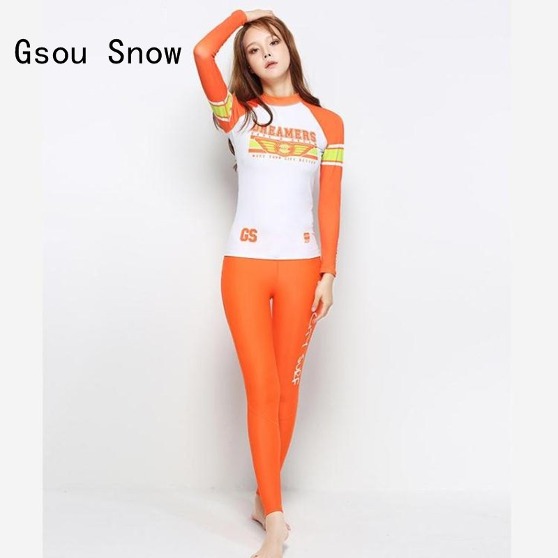 2017 Women Two Pieces traje buceo Gsou Snow Wetsuit Surfing Quick Dry Rash Guards Beach Sunscreen Diving Suit Swimwear Long Pant gsou snow brand 2017 men beach shorts quick dry summer board shorts swimming surfing diving motorboat shorts maillot de bain