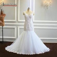 Bruidsboeket mermaid parels trouwjurk met mooie terug klant order