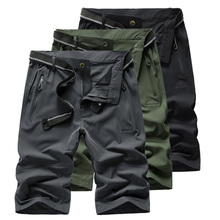 Mens Shorts Men Summer Stretch Quick Dry Casual Travel Short Man Army Green/Black Beach With Zipper AM380