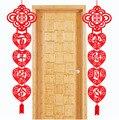 1 пара, Китайская свадьба, двойное счастье, украшение для подвешивания на двери, домашние, свадебные, вечерние