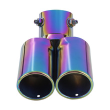 Car Exhaust Tail 1 to 2 Dual Pipe Throat Two Pipe Tail Pipe Stainless Steel Muffler Exhaust Pipe For Automobile Anti-Corrosion