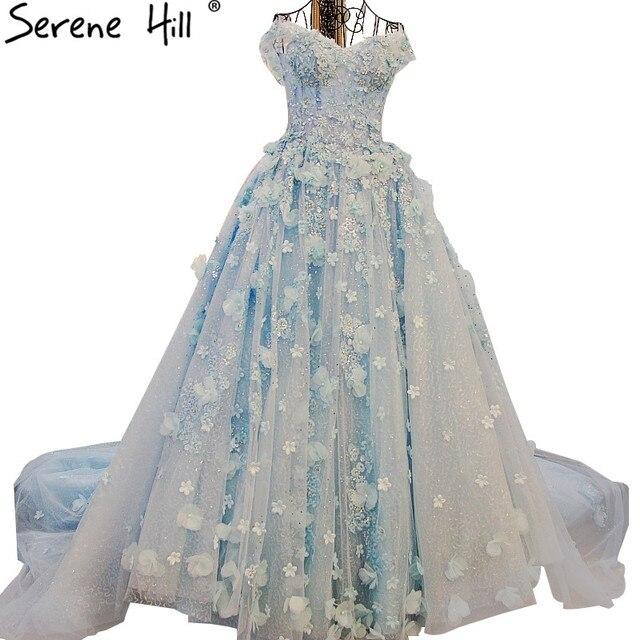 Heißer Verkauf Blau Romantische Blumen Brautkleid Ballkleid Perlen ...