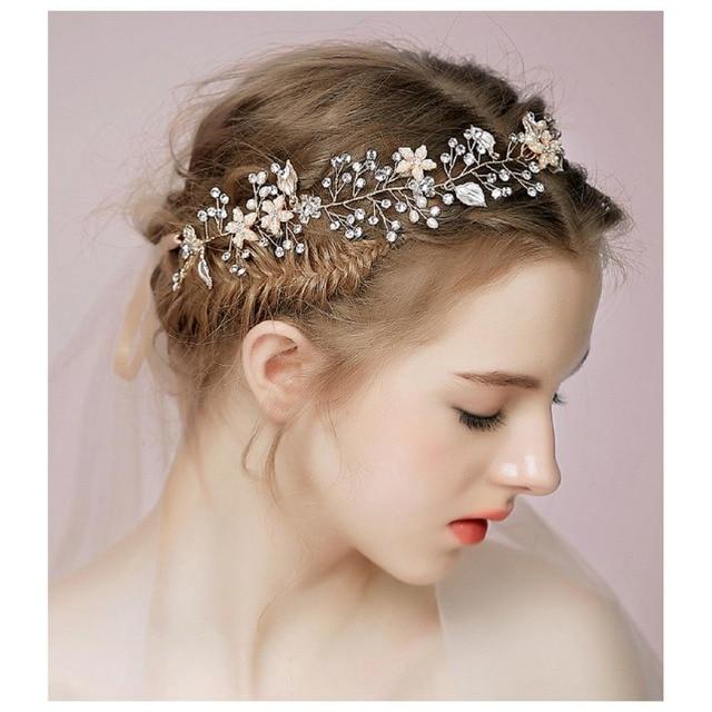Chenlvxie Moda Diamante Tiaras Y Coronas De Novia Perlas Accesorios - Adornos-de-novia-para-el-cabello
