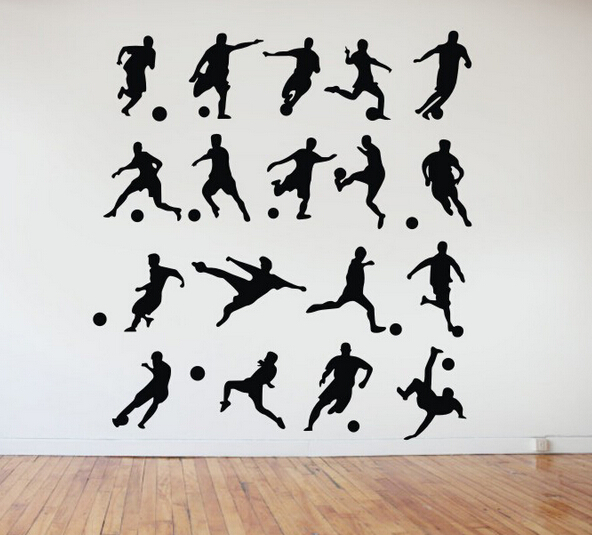 18 pcs soccer football players wall art stickers removable. Black Bedroom Furniture Sets. Home Design Ideas