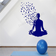 Art  Wall Sticker Yoga Pose Wall Decoration Vinyl Art Removeable Poster With Birds Flying From Human Body Mural LY237