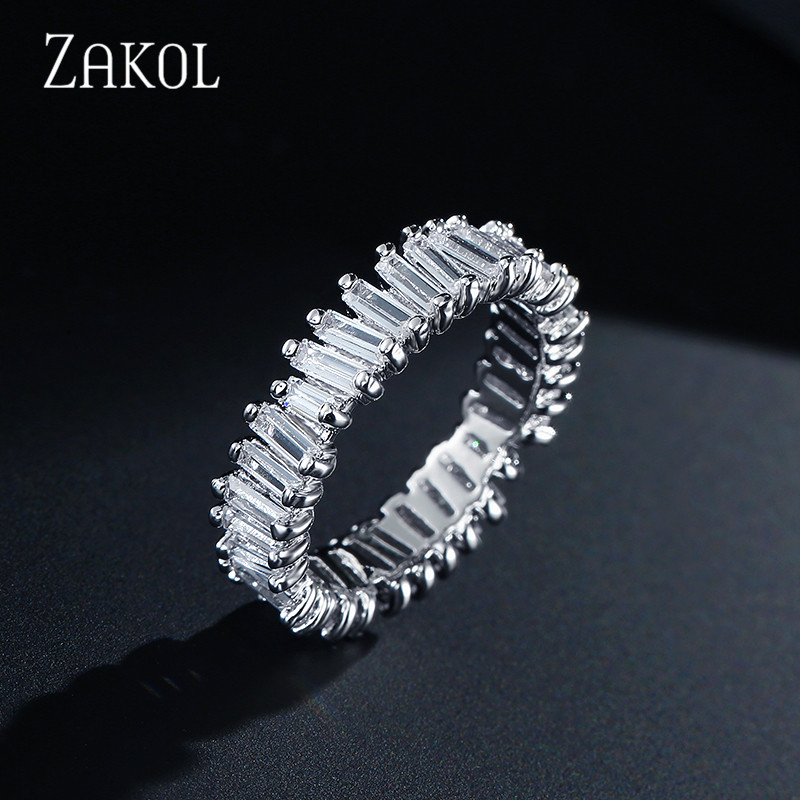 ZAKOL Fashion Luxury Charm AAA Baguette Cubic Zirconia Finger Ring for Women Men Cz Party Wedding Jewelry FSRP2046
