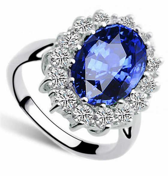 למעלה איכות נדל זירקון אבן רויאל כחול טבעת ויליאם קייט מלכת קריסטל תכשיטים משלוח drop חינם girlgifts האהבה
