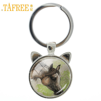 TAFREE 2017 popular animal Pentium Horse keychain Back round sturdy limbs feet jump run delicate Ornaments for men jewelry A29 image