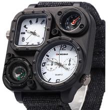 купить Watch Men Waterproof Big Dial Wristwatches Dual-Movement Sport Quartz Watch Men clock Military Wrist Watches Relogio Masculino дешево
