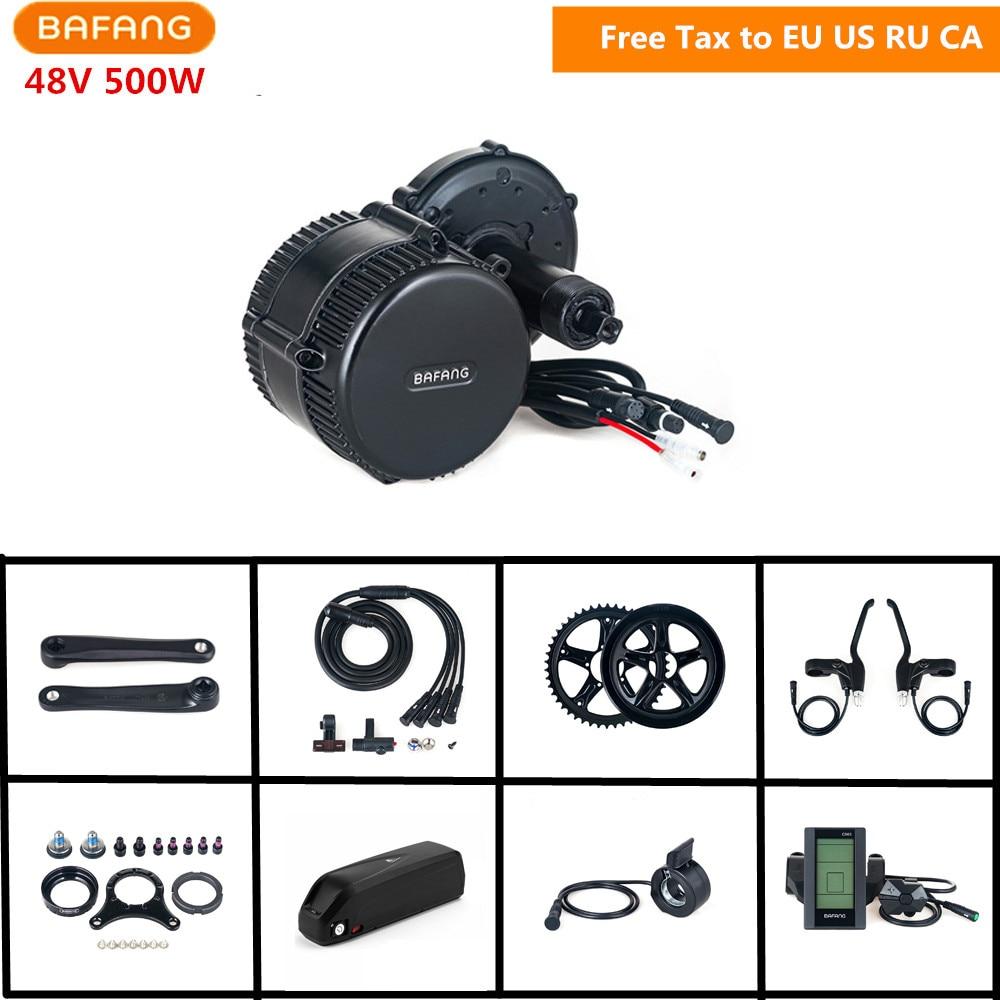 48 v 500 w Bafang 8fun BBS02B Metà Manovella Drive Motor Kit di Conversione Display LCD Kit Bici Elettrica Con 48 v 17AH Batteria Al Litio
