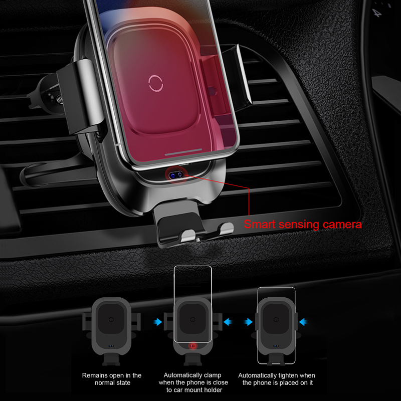 Image 2 - Baseus Car Phone Holder for iPhone Samsung Intelligent Infrared Qi Car Wireless Charger Air Vent Mount Mobile Phone Holder Stand-in Phone Holders & Stands from Cellphones & Telecommunications