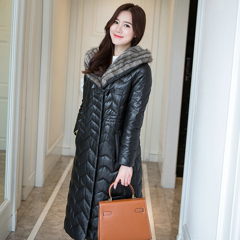 YOLANFAIRY Geniune кожа овчины Женская Куртка норки волос воротник куртка с капюшоном Jaqueta de couro chaquetas para mujer MF095