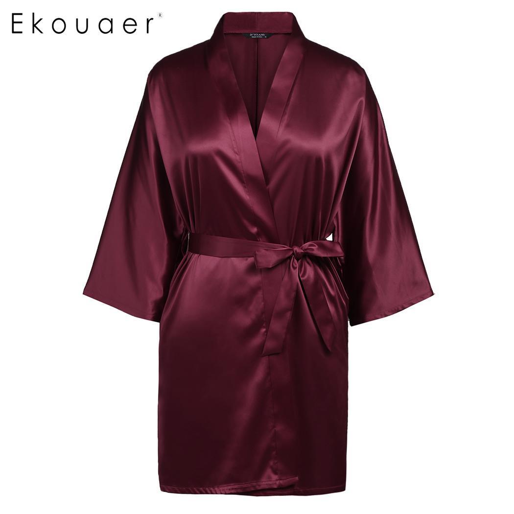 2019 Mode Ekouaer Frauen Plus Größen Kimono Bademantel Satin Nachtwäsche Robe Feste Bad Spa Roben Dressing Kleid Weibliche Nachtwäsche Xl-5xl Unterwäsche & Schlafanzug Nachthemden