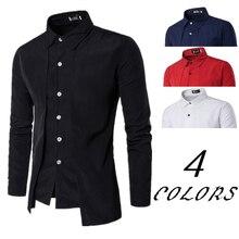 New Solid Color font b Dress b font Shirts font b Long b font Sleeve Mens